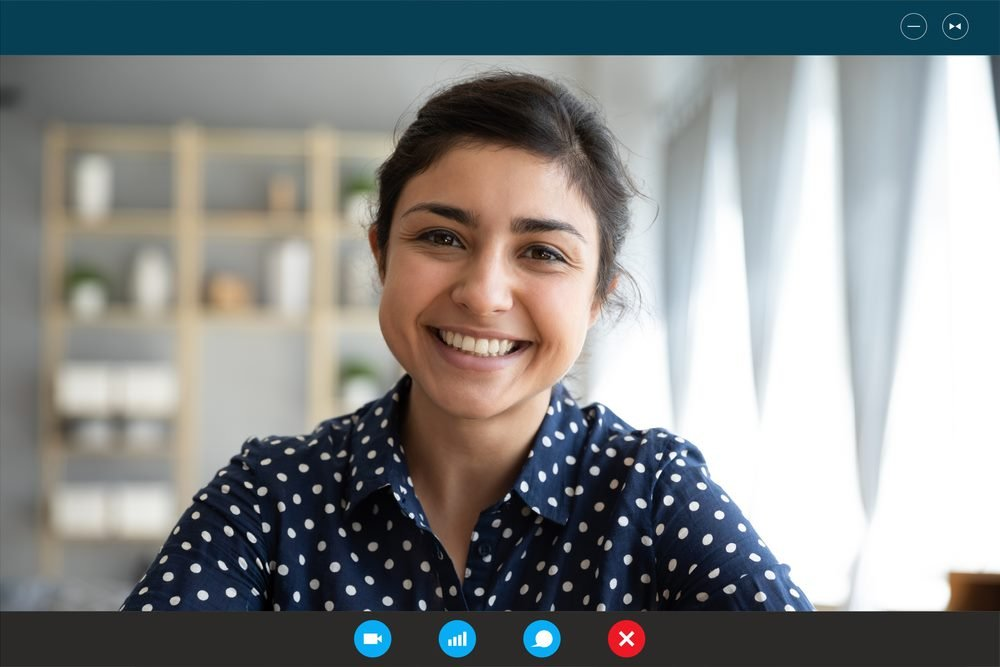 smiling woman on a video call