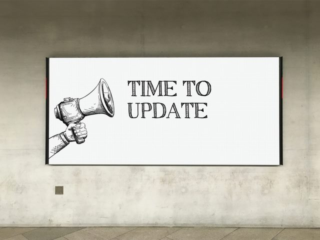 Megaphone announcement time to update on billboard