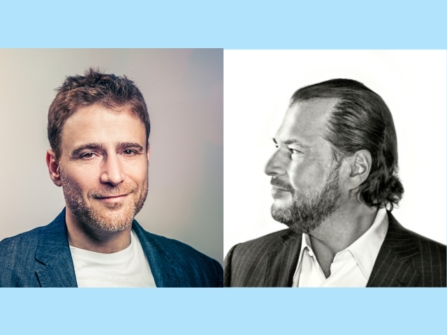 Slack CEO Stewart Butterfield and Salesforce CEO Marc Benioff