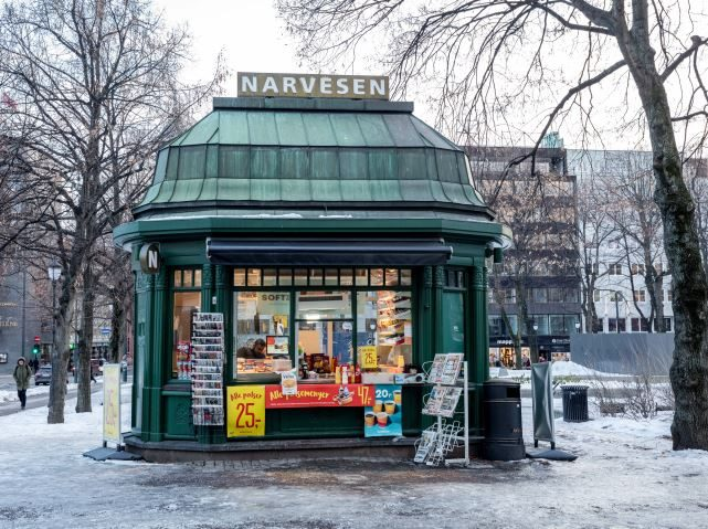 The old Narvesen newsstand shop in Eidsvollsplass, Karl Johans street in Oslo, built in 1914
