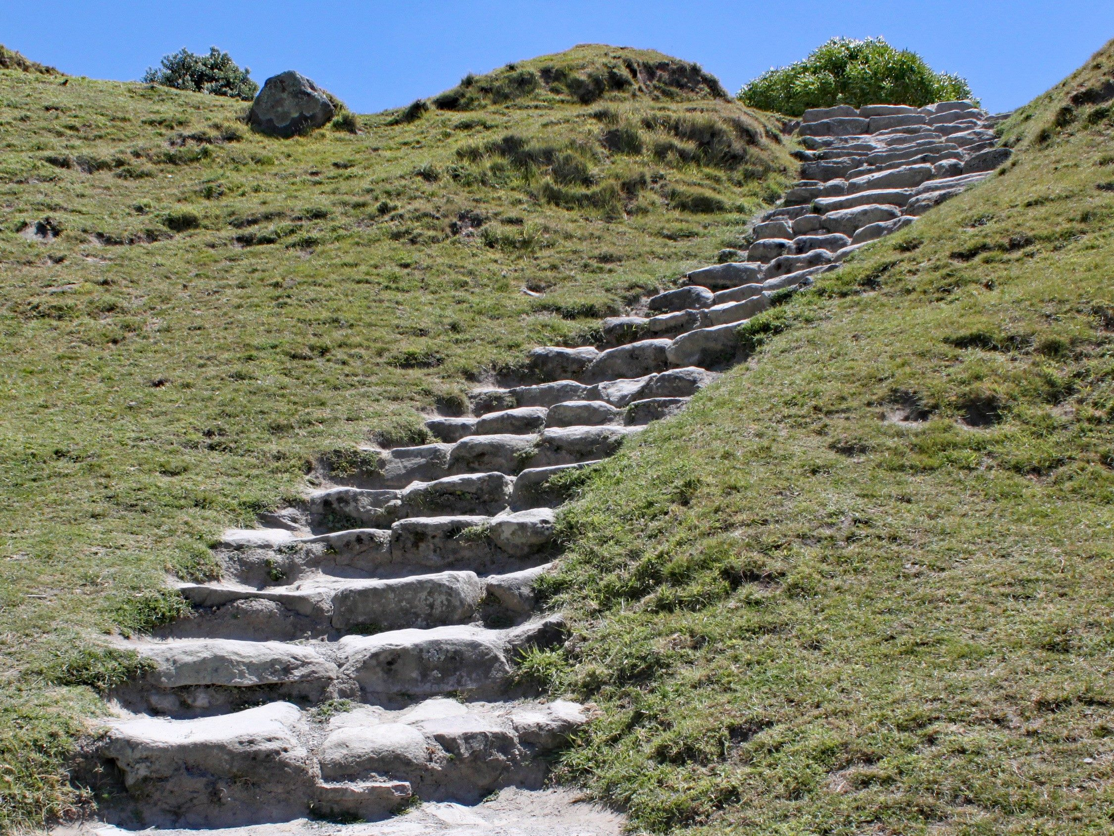 Stone steps cut into a grassy bank leading up the hillside to the summit.