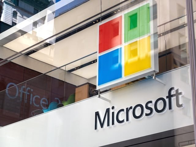 Microsoft logo on flagship store in NYC, 2019