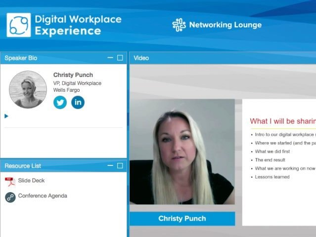A screenshot from the Digital Workplace Experience virtual conference presentation of Wells Fargo Digital Workplace VP Christy Punch.