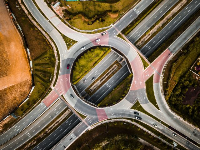 overhead view of a traffic circle
