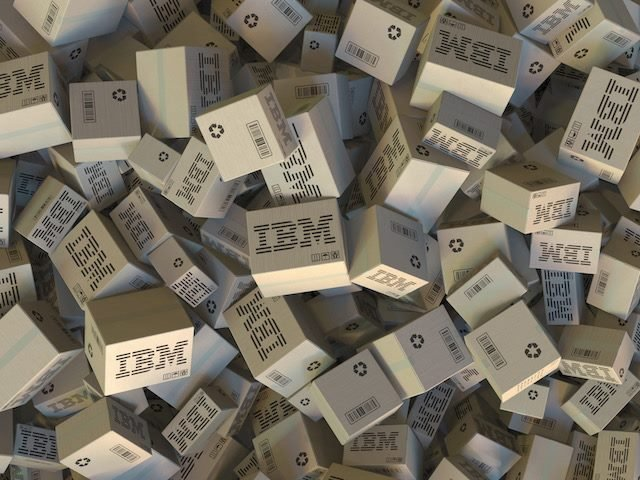 a pile of branded IBM Boxes