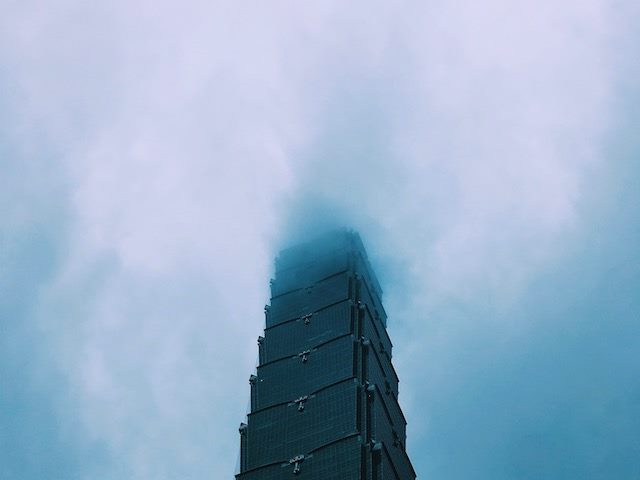 tower fading into the clouds