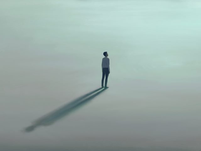 man standing alone in an open space with a surrealist painting effect