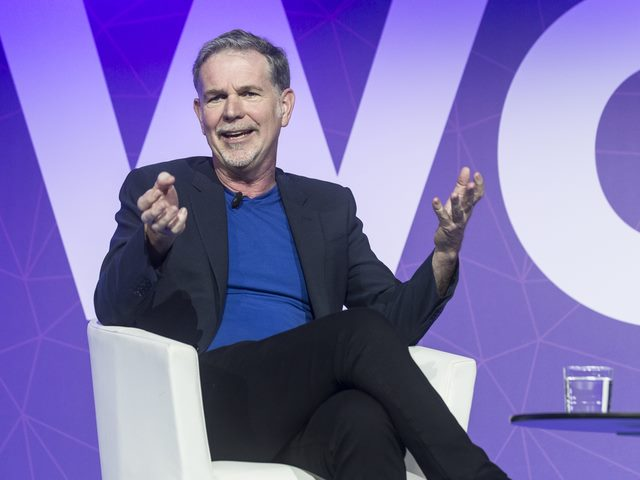 Netflix CEO Reed Hastings speaking at the Mobile World Congress on Feb. 27, 2017, in Barcelona, Spain.