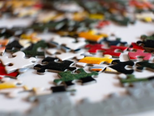 close-up of jigsaw puzzle  pieces