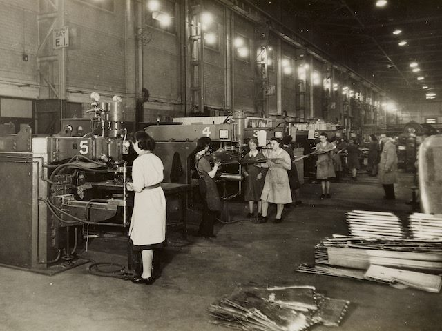 assembly  line in a WWII factory