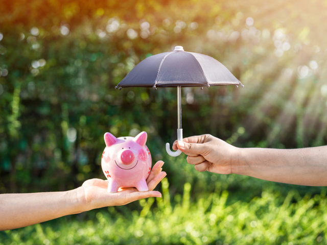 A woman's hand holds a piggy bank and open the black umbrella for protect - future-proof