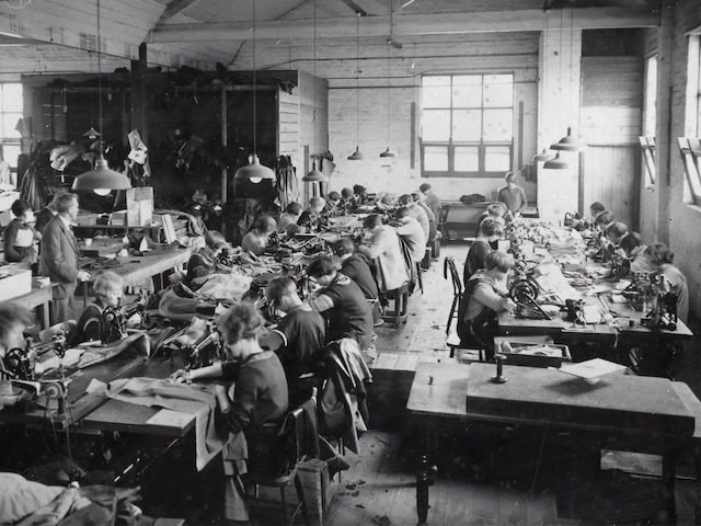 women doing piece work in a factory